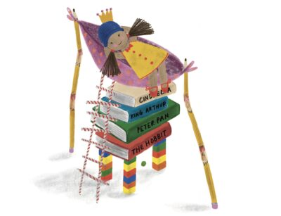 an illustration of a princess lying in a hammock over a tall pile of books