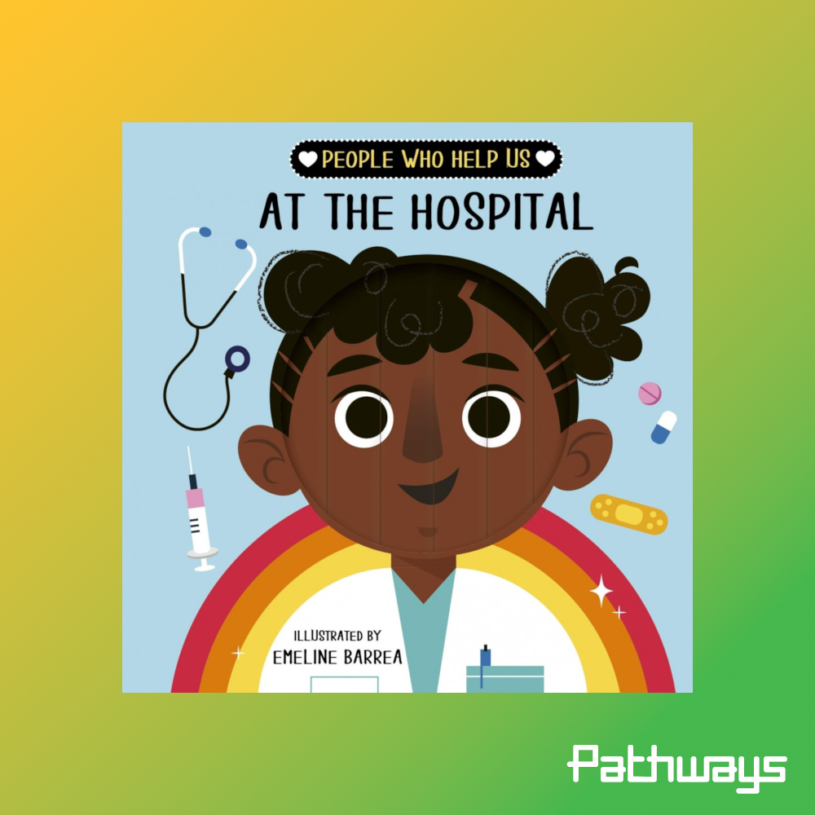 """The front cover of the book """"people who help us at the hospital"""""""