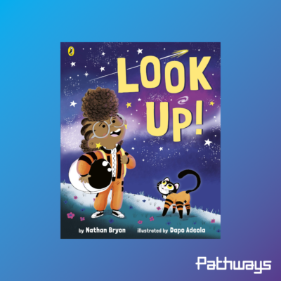 "The front cover of the book ""look up"""